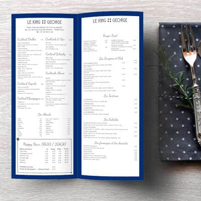 Menu et carte de restaurant