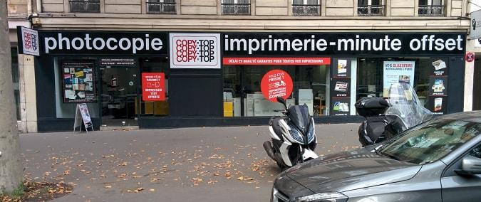 Vitrine imprimeur COPY-TOP Paris | agence Grande Armée - Maillot