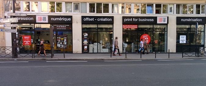 Vitrine imprimeur COPY-TOP Paris | agence Gare de Lyon - Bastille