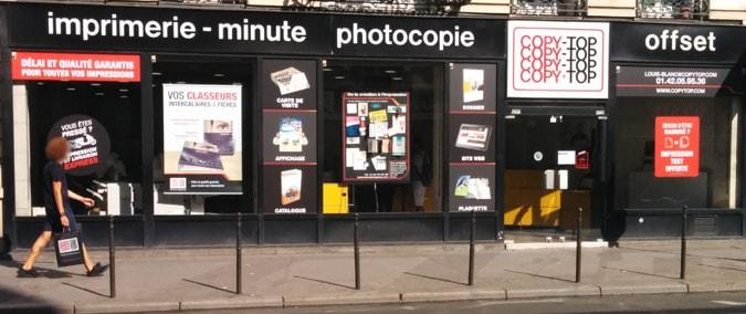 Vitrine imprimeur COPY-TOP Paris | agence Louis Blanc - La Fayette