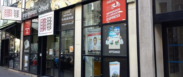 Vitrine imprimeur COPY-TOP Paris | agence Louvre - Etienne Marcel