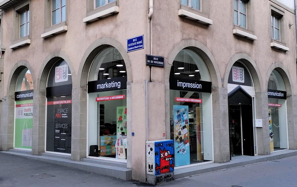 Vitrine imprimeur COPY-TOP Strasbourg | agence Strasbourg