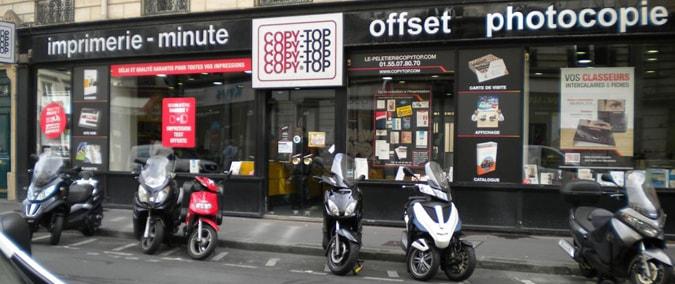 Vitrine imprimeur COPY-TOP Paris | agence Le Peletier - Châteaudun