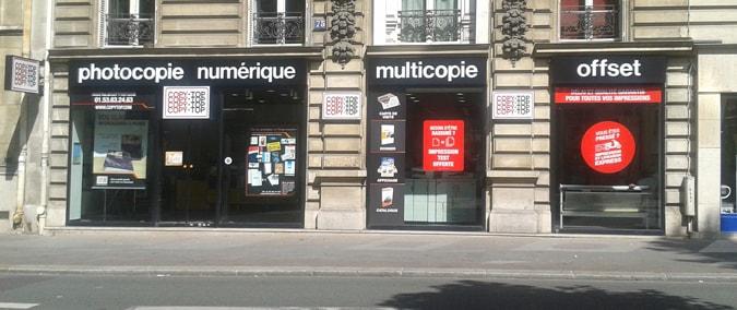 Vitrine imprimeur COPY-TOP Paris | agence Raspail - Rennes