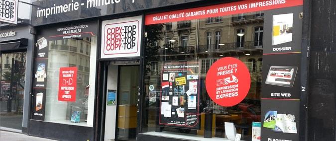 Vitrine imprimeur COPY-TOP Paris | agence République
