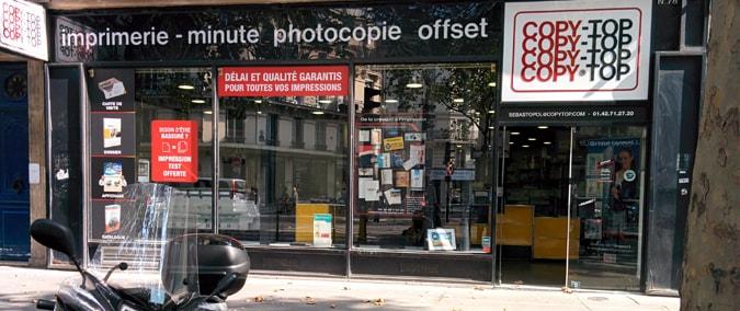 Vitrine imprimeur COPY-TOP Paris | agence Réaumur Sébastopol
