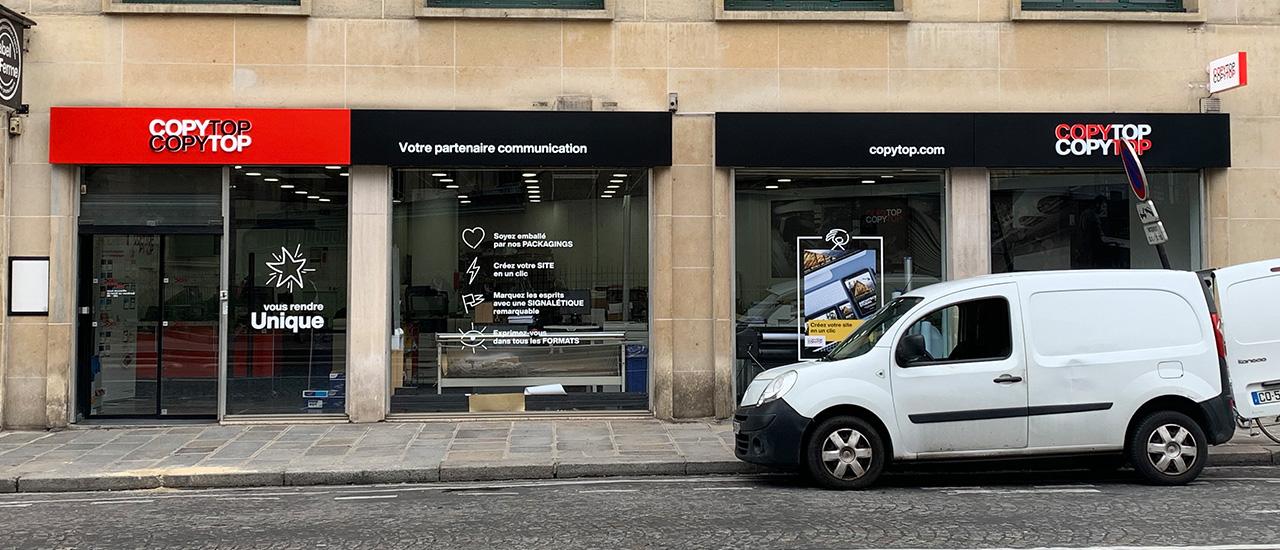 Vitrine imprimeur COPY-TOP Paris | agence Saint-Philippe-du-Roule