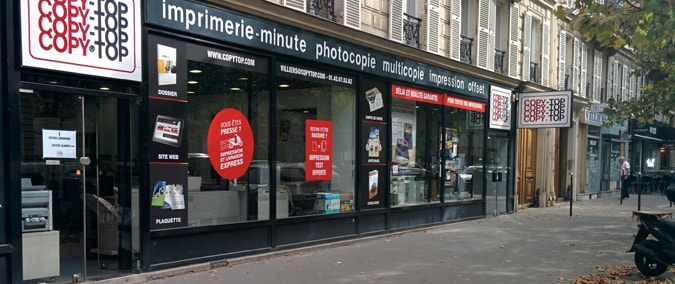 Vitrine imprimeur COPY-TOP Paris | agence Péreire - Wagram